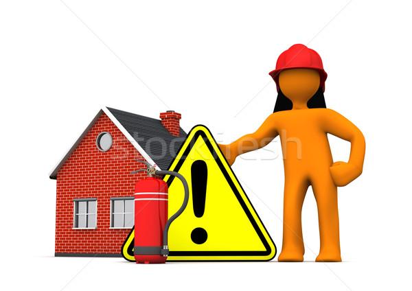 消防 家 警告 白 3次元の図 ストックフォト © limbi007