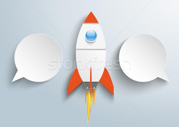 Infografika papír szövegbuborékok rakéta terv szürke Stock fotó © limbi007