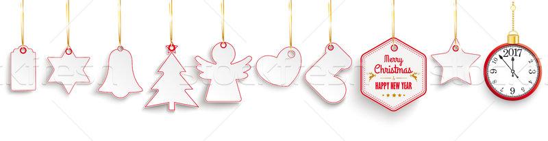 Christmas Red Price Stickers Golden Ribbons Clock 2017 Stock photo © limbi007