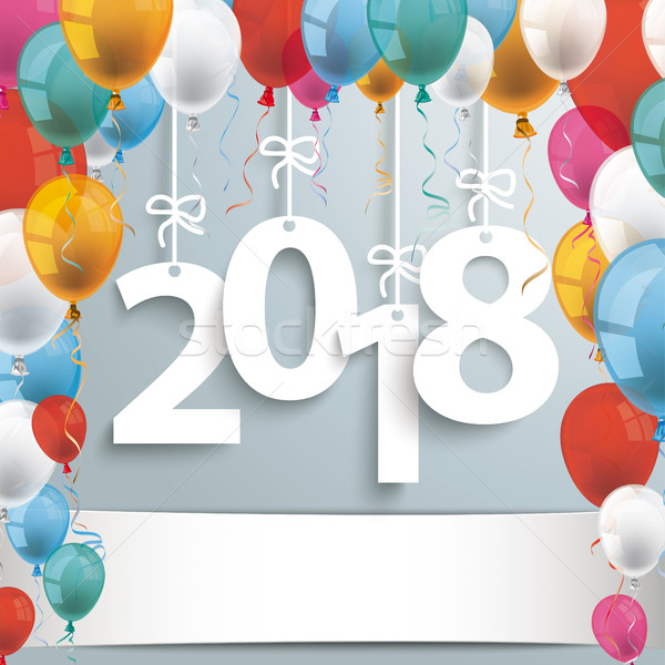 2018 Gray Background Balloons Stock photo © limbi007