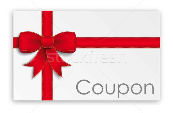 Coupon Card Red Ribbon Stock photo © limbi007