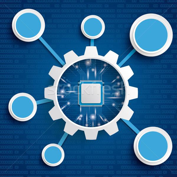 ギア ホイール マイクロチップ ネットワーク インフォグラフィック サークル ストックフォト © limbi007