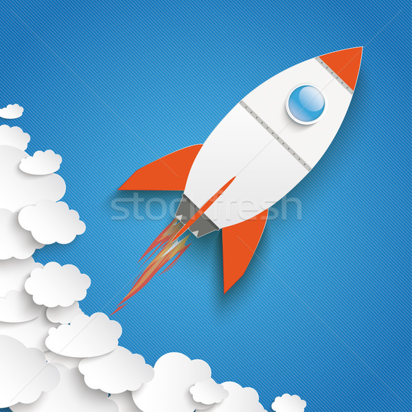 White Paper Clouds Blue Sky Rocket Growth Stock photo © limbi007