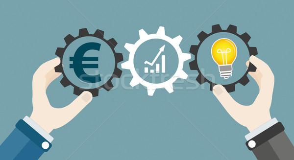Hands Gears Idea Bulb Euro Investor Concept Success Stock photo © limbi007