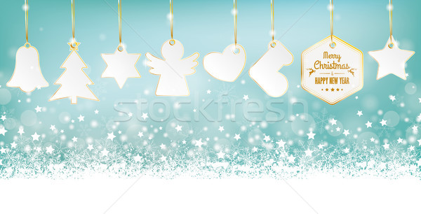 Cyan Merry Christmas Card Header Snowflakes Golden Stickers Stock photo © limbi007
