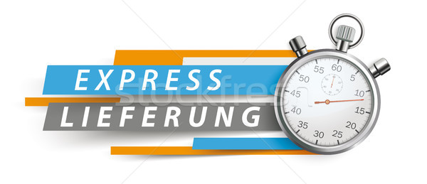 Express Lieferung Stopwatch Blue Orange Paper Lines White Header Stock photo © limbi007