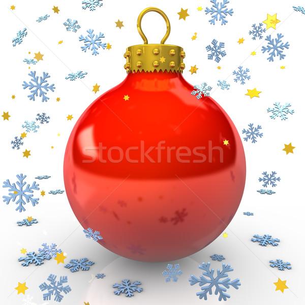 Ler natal bugiganga vermelho flocos de neve estrelas Foto stock © limbi007