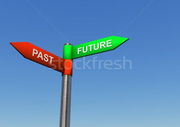 Futuro pasado dirección signo poste indicador dos Foto stock © limbi007