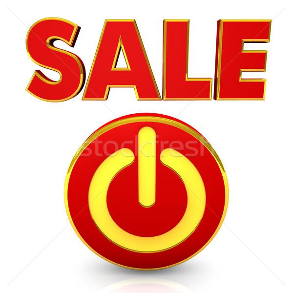 Vásár kezdet gomb szöveg fehér üzlet Stock fotó © limbi007