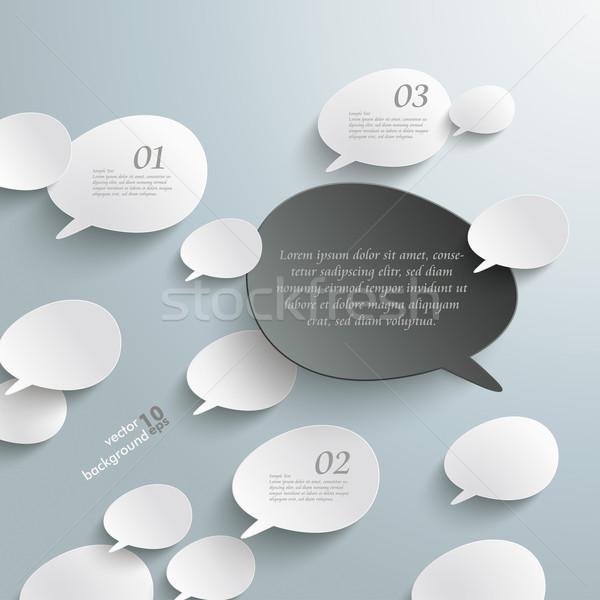 Stock photo: Bevel Speech Bubbles Black Opinion Infographic Design