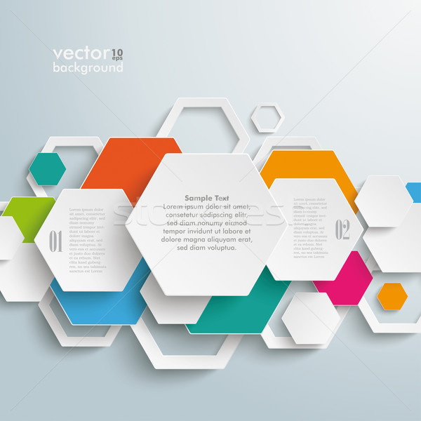 Infographic Colored Paper Hexagons PiAd Stock photo © limbi007