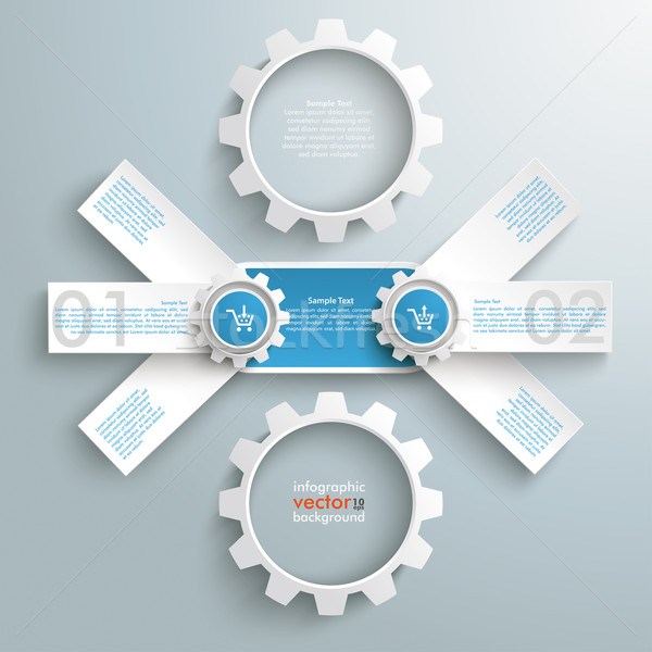 Stock photo: Round Triple Banner 2 Gears