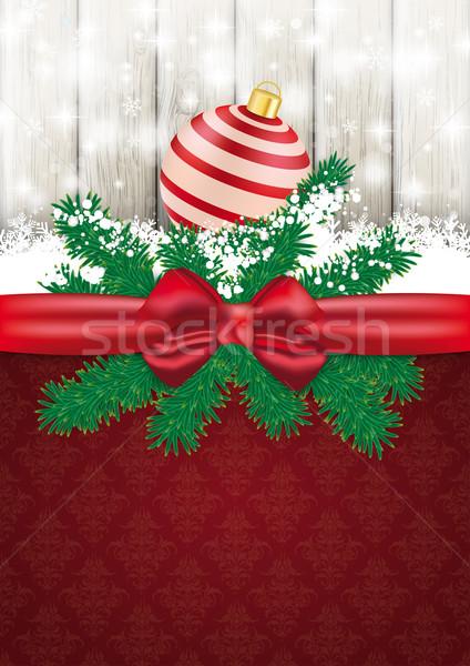 Christmas Card Ash Wood Red Ribbon Ornaments Stock photo © limbi007