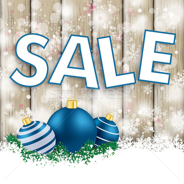 Snowfall Ash Wood Blue Baubles Sale Stock photo © limbi007