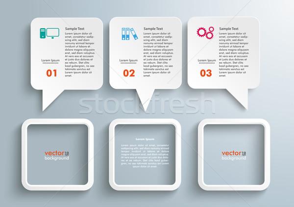Téglalap beszéd léggömbök keret szürke eps Stock fotó © limbi007