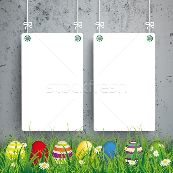 Huevos de Pascua hierba blanco concretas hierba verde Foto stock © limbi007