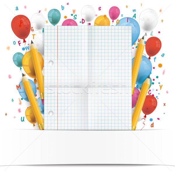 Banner Balloons Letters Folded Checked Paper Stock photo © limbi007