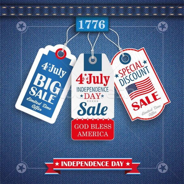 Stock photo: Jeans Vintage Independence Day 3 Price Stickers