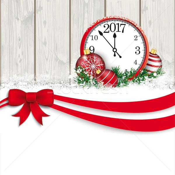Christmas Red Ribbon Bauble Even Clock 2017 Wood Stock photo © limbi007