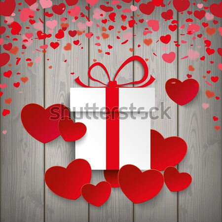 Valentines Day Hearts Red Ribbon Lowpoly Pink Wood Stock photo © limbi007