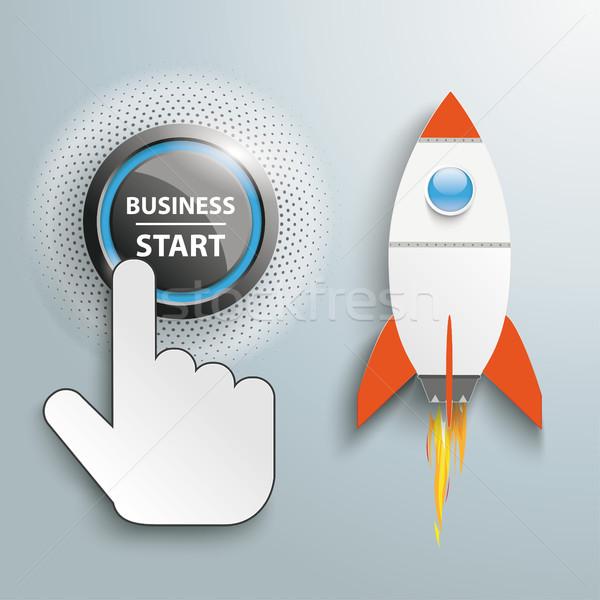 Kattintás kéz lökés gomb üzlet kezdet Stock fotó © limbi007
