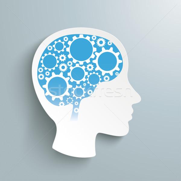 Foto stock: Humanismo · cabeça · engrenagem · rodas · cérebro · engrenagens