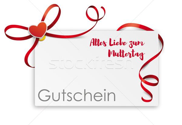 Gutschein Card Red Ribbon Bow Muttertag Stock photo © limbi007