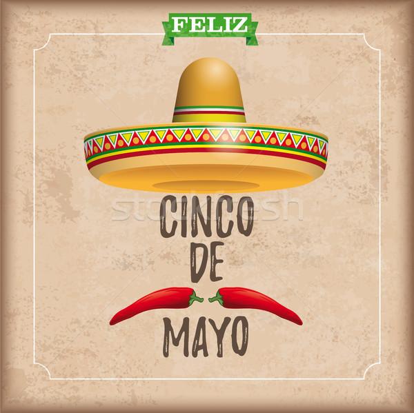 Sombrero Cinco De Mayo Chili Vintage Frame Stock photo © limbi007