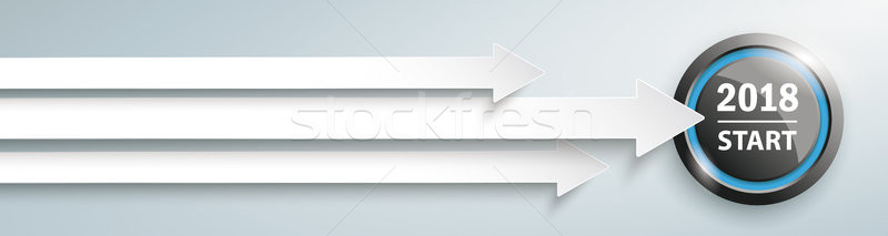 3 Arrows Start 2018 Button Header Stock photo © limbi007