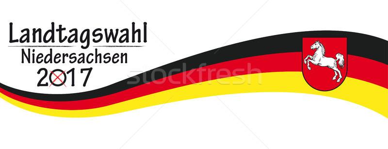 Paper Banner German Flag Landtagswahl Niedersachsen 2017 Stock photo © limbi007