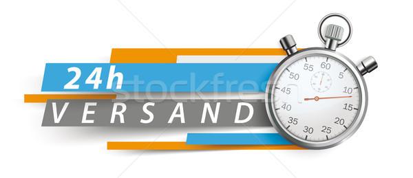 24h Versand Stopwatch Blue Orange Paper Lines Header Stock photo © limbi007