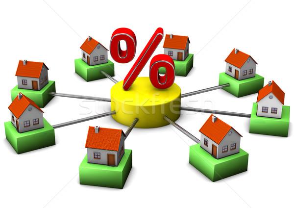Otthon vásár házak nagy százalék szimbólum Stock fotó © limbi007
