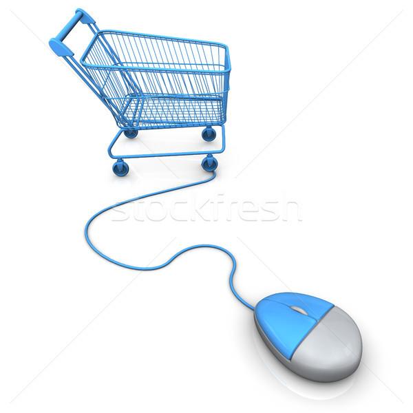 Vásárlás szállít egér kék pc fehér Stock fotó © limbi007