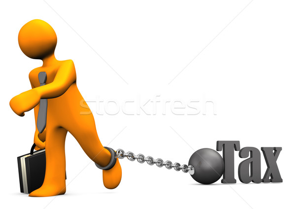 Empresario preso impuesto naranja hierro pelota Foto stock © limbi007