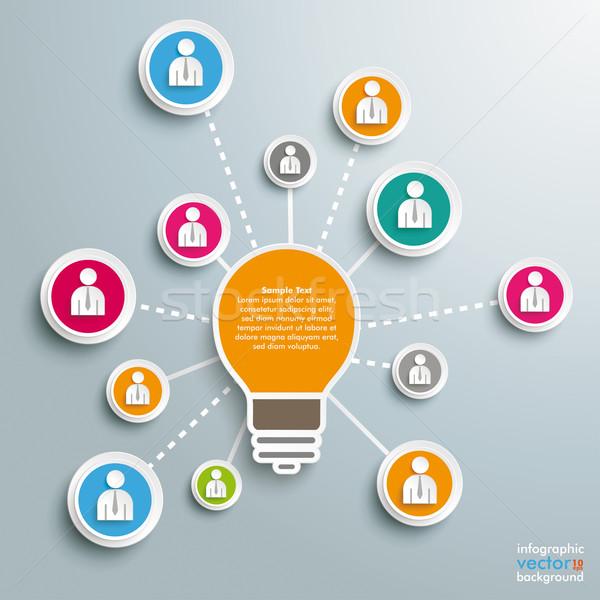 Big Bulb Brainstorming Businessmen Stock photo © limbi007