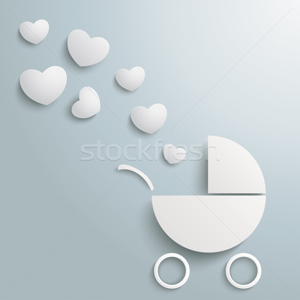 White Paper Baby Buggy Hearts Dust Stock photo © limbi007