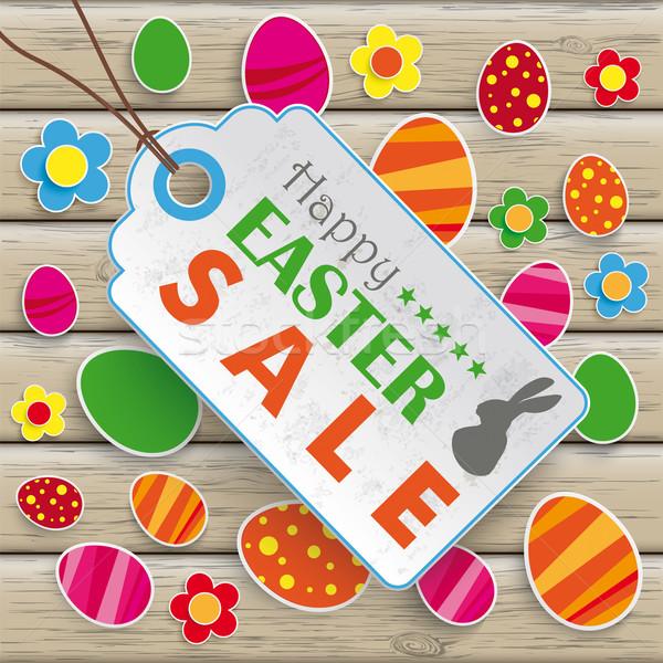 Foto stock: Pascua · precio · etiqueta · madera · infografía
