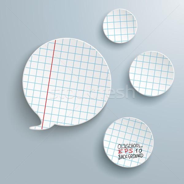 Checked Paper Speech Bubble 3 Circles Stock photo © limbi007