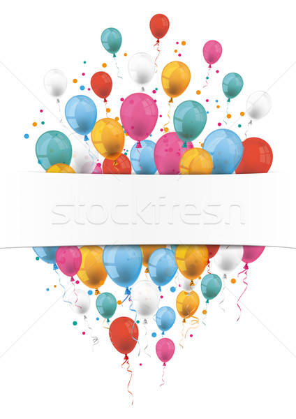Oblong Flyer White Banner Balloons Stock photo © limbi007