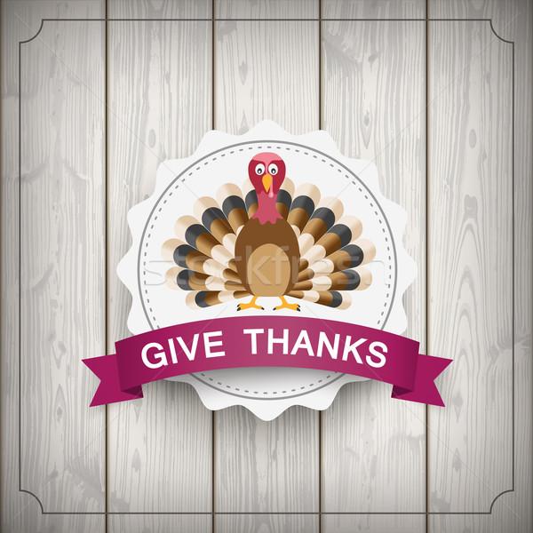 Emblem Thanksgiving Turkey Wood Stock photo © limbi007
