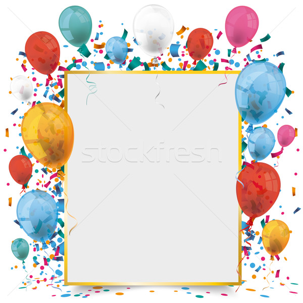 Golden Paper Frame Balloons Carnival Stock photo © limbi007
