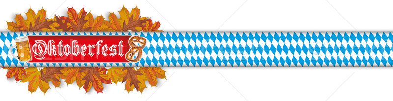 Oktoberfest Banner Beer Pretzel Foliage Bavarian Header SH Stock photo © limbi007