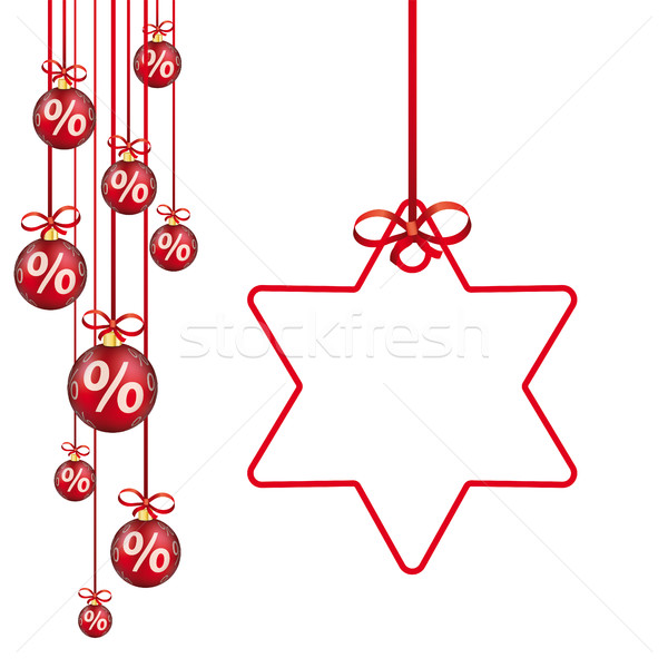 Red Christmas Baubles Red Ribbons Percents Star Stock photo © limbi007