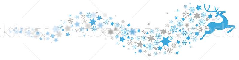Stockfoto: Rendier · sneeuwvlokken · star · stof · wazig
