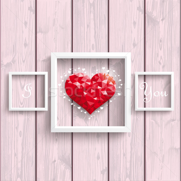 I Love You Low Poly Heart Pink Wood Frames Stock photo © limbi007