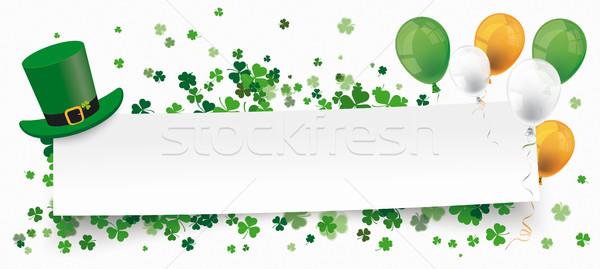 St Patricks Day Paper Banner Hat Shamrocks Balloons Stock photo © limbi007