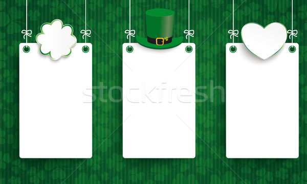 Vintage St Patricks Day 3 Boards Hat Shamrock Heart Stock photo © limbi007