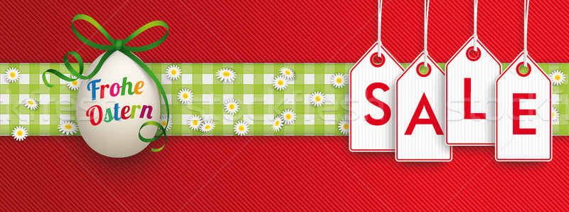 Easter Egg Cloth Hanging Price Stickers Sale Header Ostern Stock photo © limbi007