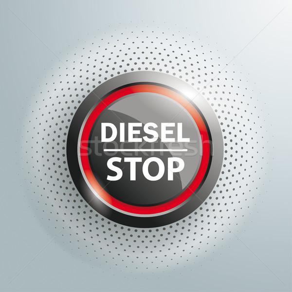 Pulsante diesel stop mezzitoni testo grigio Foto d'archivio © limbi007