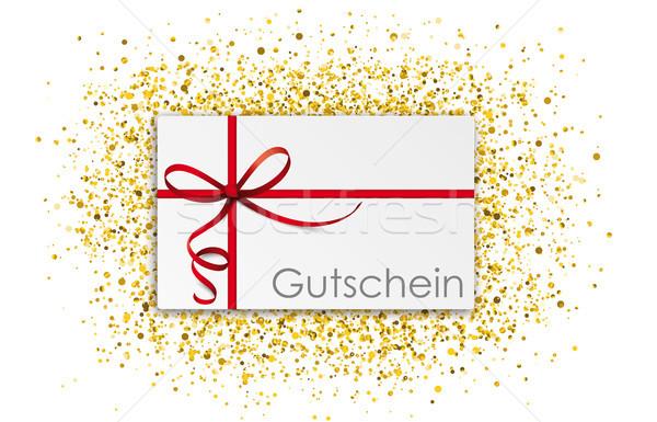 Gutschein Thin Red Ribbon Golden Glitter Confetti Stock photo © limbi007